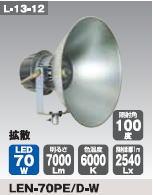 日動工業 LEDメガライト70W(投光器式) LEN-70PE/D-W
