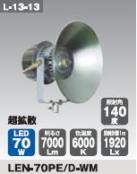 日動工業 LEDメガライト70W(投光器式) LEN-70PE/D-WM