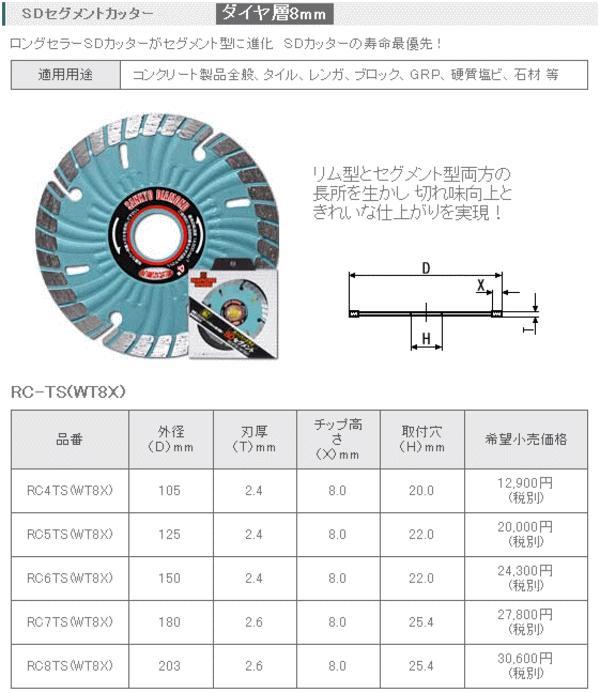 三京ダイヤモンド SDセグメントカッター 150mm RC6TS(WT8X)