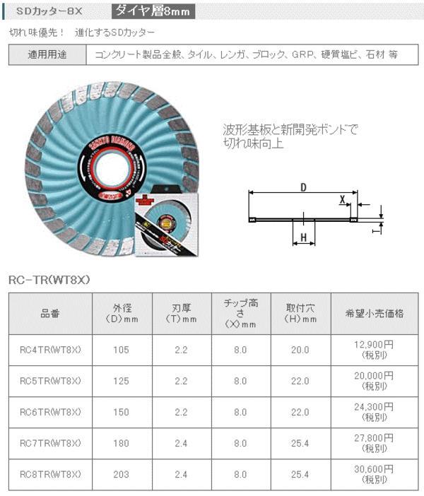 三京ダイヤモンド SDカッター8X 180mm RC7TR(WT8X)