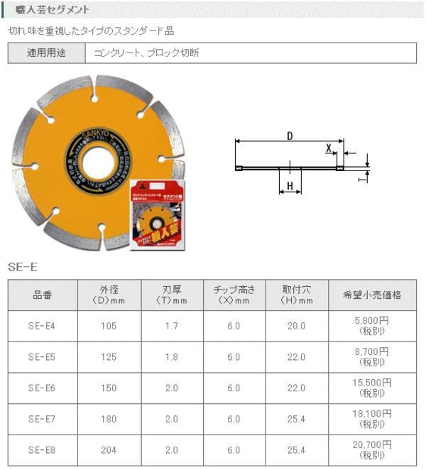 三京ダイヤモンド 職人芸セグメント 180mm SE-E7