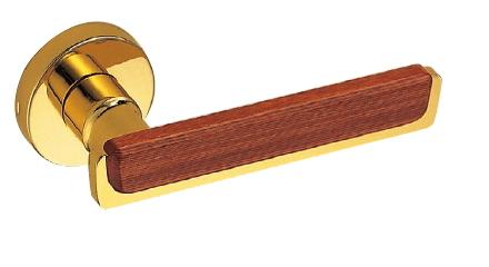 丸座付LX玄関錠付 レバーハンドル イタリアーナ SL-7-R-GC-純金 シロクマ
