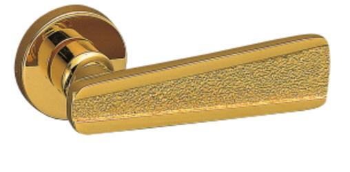 シロクマ レバーハンドル ウェディング 丸座付LX間仕切錠付 SL-88-R-GE-純金
