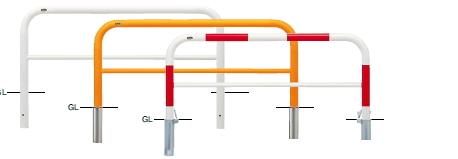 サンポール 車止め アーチ 差込式カギ付 φ60.5×W1500×H650 (RW)赤白 FAH-7SK15-650 【※メーカー直送品のため代金引換便はご利用になれません】