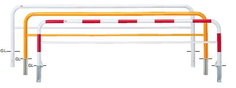 サンポール 車止め アーチ 差込式フタ付 φ60.5×W3000×H800 (RW)赤白 FAH-7SF30-800 【※メーカー直送品のため代金引換便はご利用になれません】