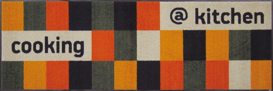 wash+dry  ウォッシュアンドドライ マット B005C【@kitchen orange】モザイクパターンオレンジ系 60×180cm