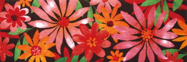wash+dry  ウォッシュアンドドライ マット K006C【Blumello】花柄赤 60×180cm