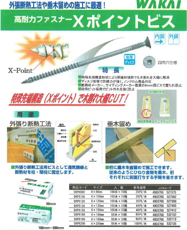 *ポイントビス サイズ6x160 1箱/100本入 【WAKAI 若井産業】