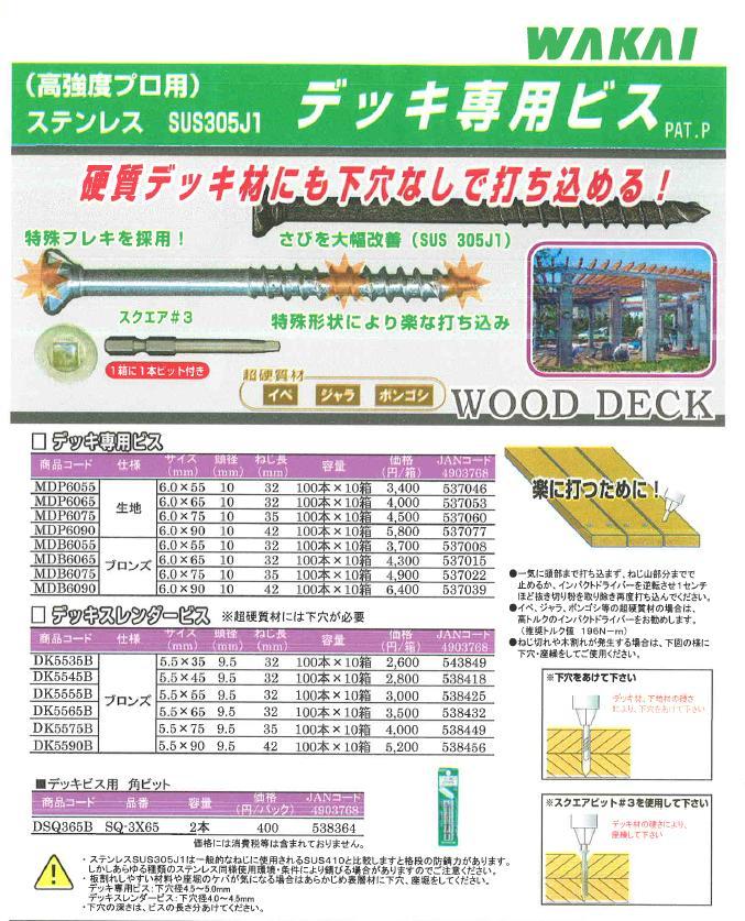 デッキビス用 角ビットパック SQ-3X65バラ売り 期間限定 ご予約品 2本x1パック WAKAI 若井産業