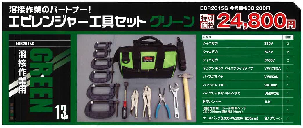 エビレンジャー工具セット グリーン溶接作業用 全13点【EBR2015G】