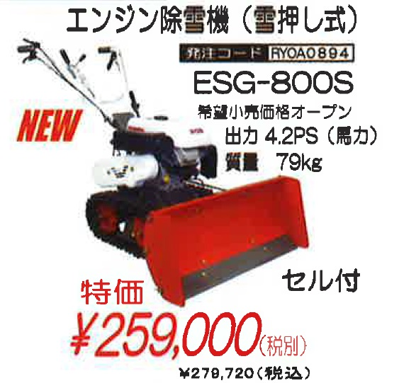 RYOBI 除雪機 ESG-800S【送料別途】