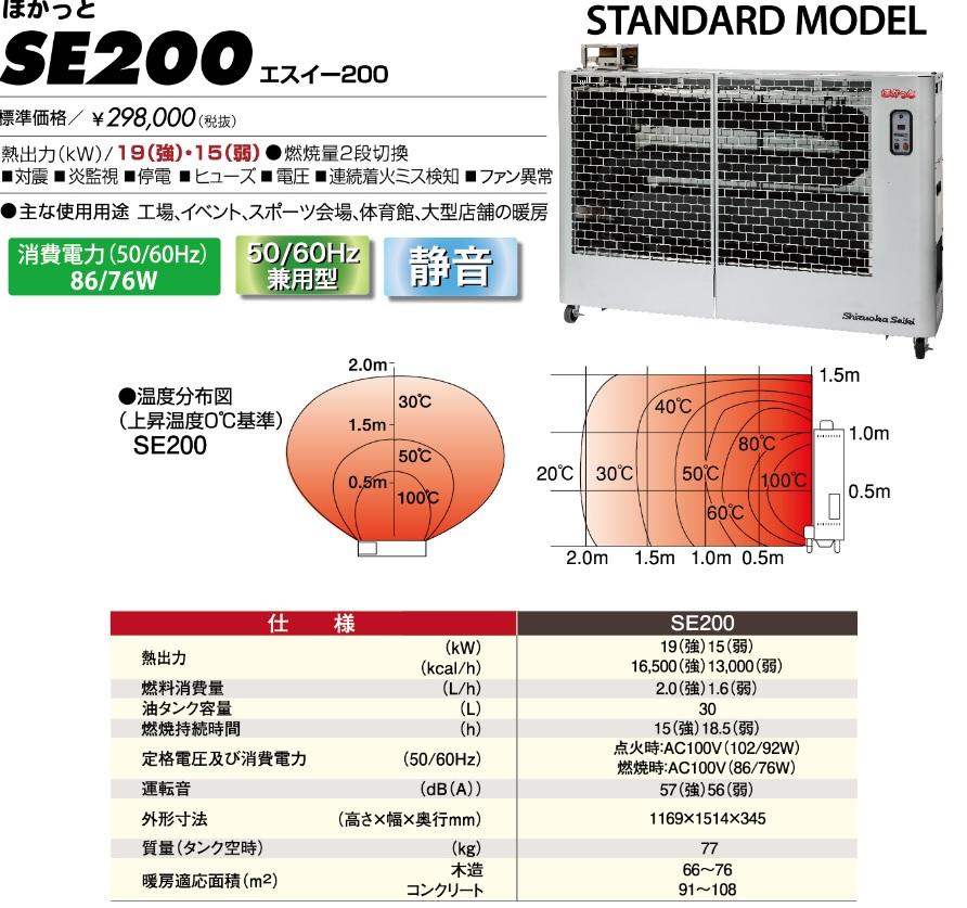 *静岡製機(株) 遠赤外線ヒーター 50Hz/60Hz兼用型ホカットシリーズ SE-200 SE200