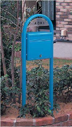 激安郵便ポスト 郵便受け YKKAP ポスティモ ネームプレート付き FMB-1B ブルー ポール建てセット 送料無料