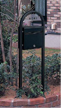 激安郵便ポスト 郵便受け YKKAP ポスティモ ネームプレート付き FMB-1B カームブラック ポール建てセット 送料無料