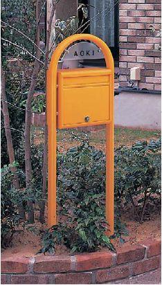 激安郵便ポスト 郵便受け YKKAP ポスティモ ネームプレート付き FMB-1B オレンジ ポール建てセット 送料無料