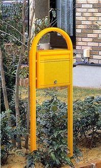 激安郵便ポスト 郵便受け YKKAP ポスティモ ネームプレートなし FMB-1B オレンジ ポール建てセット 送料無料