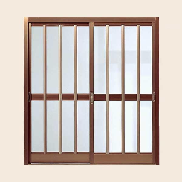 LIXIL/リクシル 玄関引戸 菩提樹 2枚建戸ランマ無 普通枠 211型(三本格子)ブロンズ 6160 W1692*H1847【玄関】【出入口】【引き戸】【アミ戸】