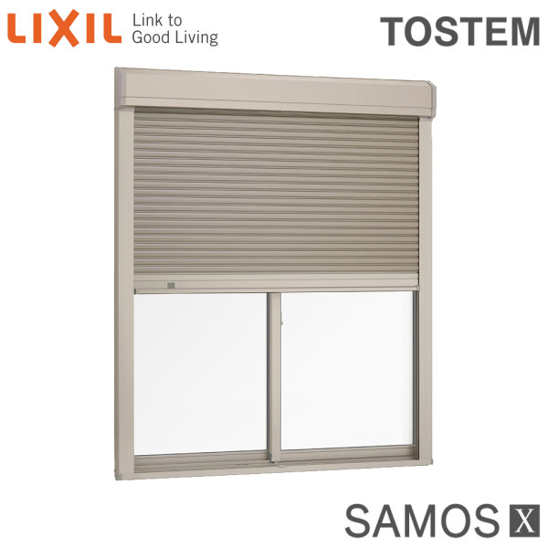 樹脂アルミ複合サッシ シャッター付引き違い窓 17620 W1800×H2030 LIXIL サーモスX 半外型 LOW-E複層ガラス (アルゴンガス入) アルミサッシ 引違い窓 kenzai