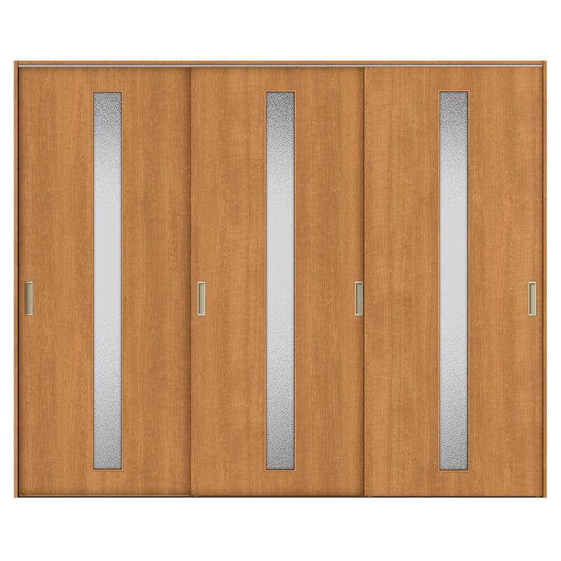 リクシル 室内引き戸 TA リビング 建具 引戸 ドア 扉 建具 室内引戸 TA Vレール方式 ノンケーシング枠 引違い戸 3枚建/EGA(カスミガラス) 2420 リクシル トステム ドア 交換 リフォーム DIY kenzaih