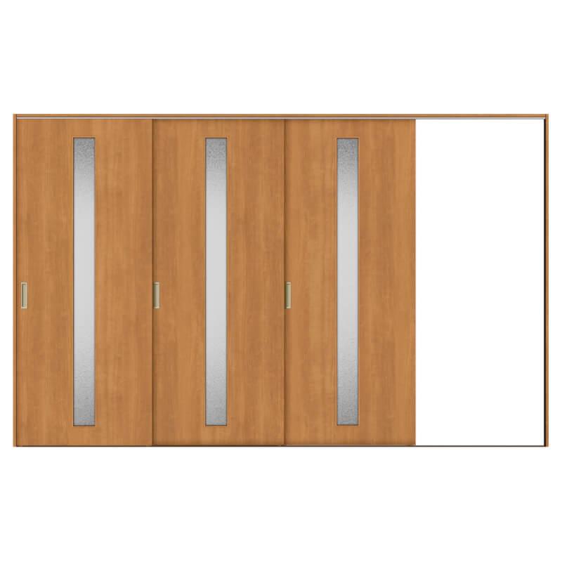 リクシル 室内引き戸 TA リビング 建具 引戸 ドア 扉 建具 室内引戸 TA Vレール方式 ノンケーシング枠 片引戸 3枚建/EGA(カスミガラス) 3220 リクシル トステム ドア 交換 リフォーム DIY kenzaih