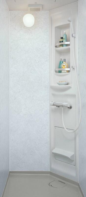 集合住宅用シャワーユニットSP ビルトインタイプ EH0808(プランSU09A)SPB-0808LBEH-A+H(C)R Lパネル(鏡面)ホワイトストーン/HN751 LIXIL リクシル kenzai