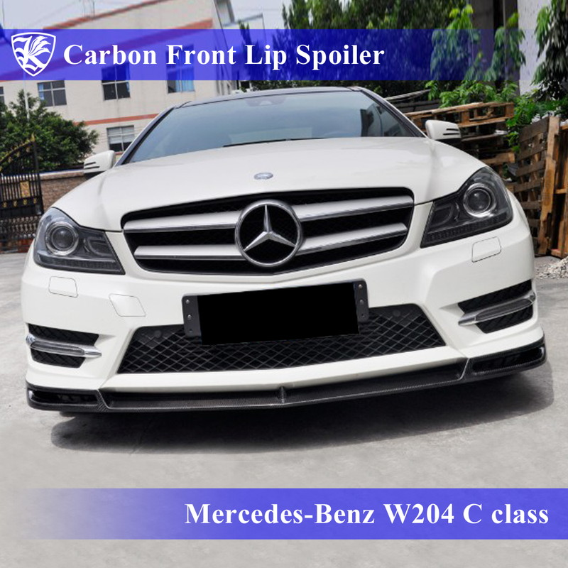 Mercedes-Benz W204 Cクラス 後期 クーペ(2ドア) Kerberos K'sスタイル 3D Real Carbon カーボンフロントリップスポイラー 【AK-2-082】