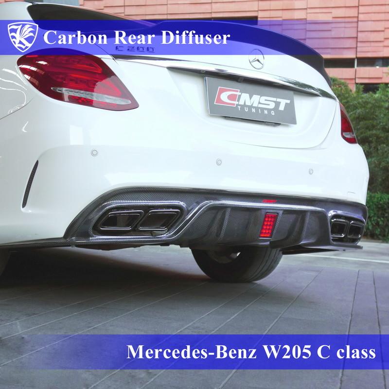 Mercedes-Benz W205 C200 スポーツエディション Kerberos K'sスタイル 3D Real Carbon カーボンリアディフューザー Bタイプ 【AK-2-178】