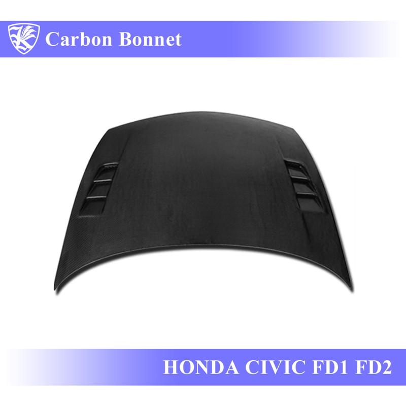 HONDA シビック FD1/FD2 Kerberos K'sスタイル 3D Real Carbon カーボンエアスクープボンネット Aタイプ 【AK-5-084】