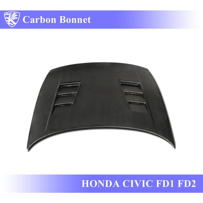 HONDA シビック FD1/FD2 Kerberos K'sスタイル 3D Real Carbon カーボンエアスクープボンネット Bタイプ 【AK-5-086】