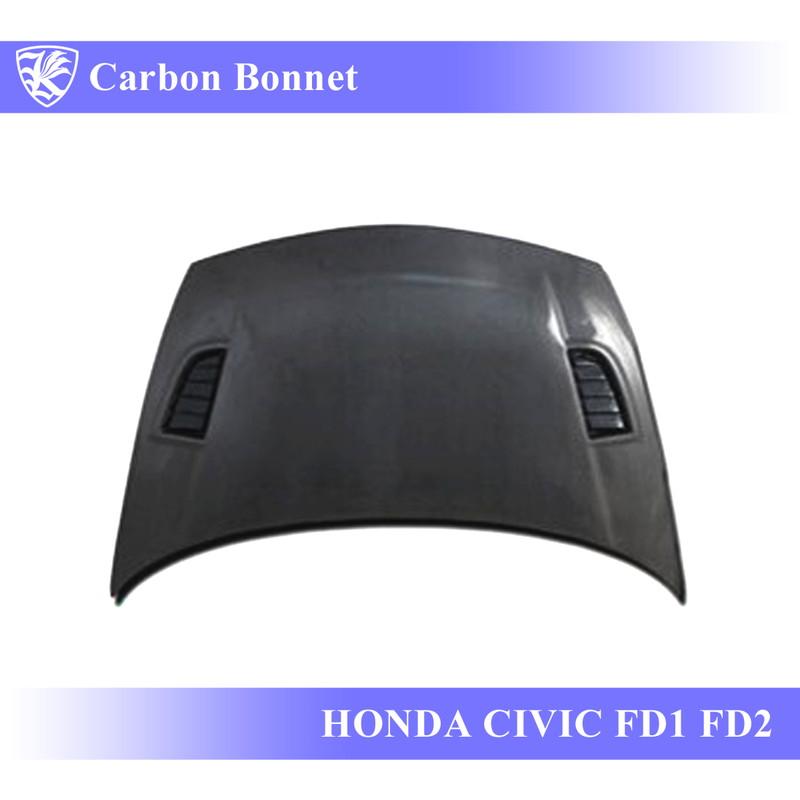 HONDA シビック FD1/FD2 Kerberos 3D Real Carbon カーボンボンネット OEMタイプ 【AK-5-088】