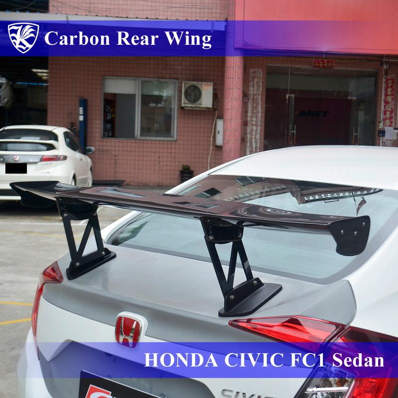 【AK-5-324】 Carbon カーボンリアウィング 3D K'sスタイル セダン Real HONDA 10代目 FC1 Kerberos シビック