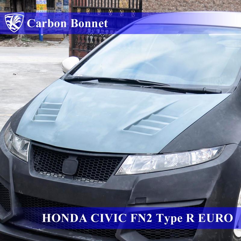 HONDA シビック FN2 タイプRユーロ Kerberos K'sスタイル 3D Real Carbon カーボンエアスクープボンネット 【AK-5-339】