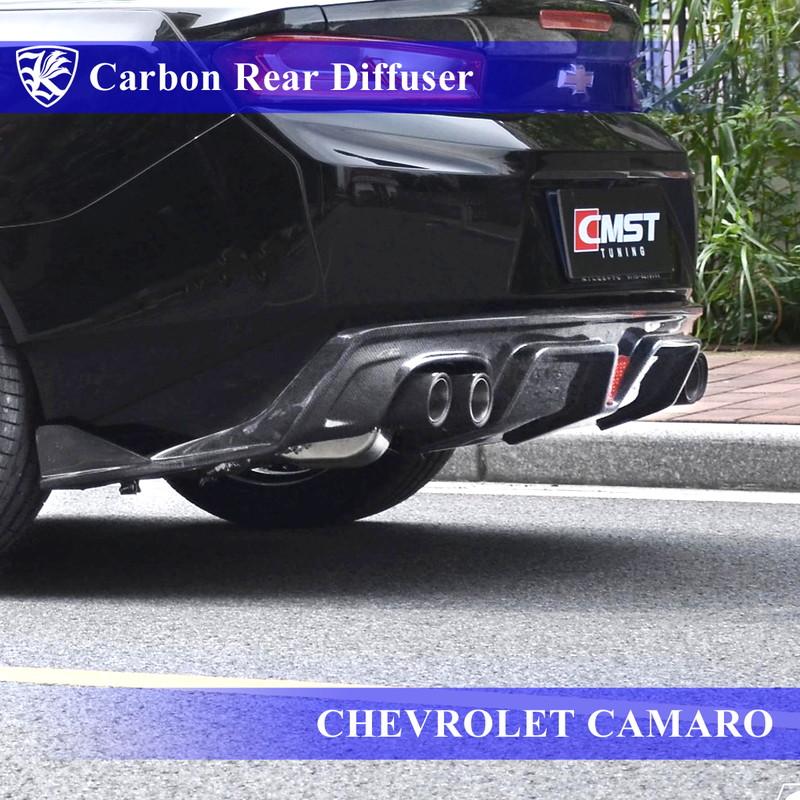 CHEVROLET カマロ 6代目 Kerberos K'sスタイル 3D Real Carbon カーボンリアディフューザー 左右2本出しマフラー用 【AK-7-051】