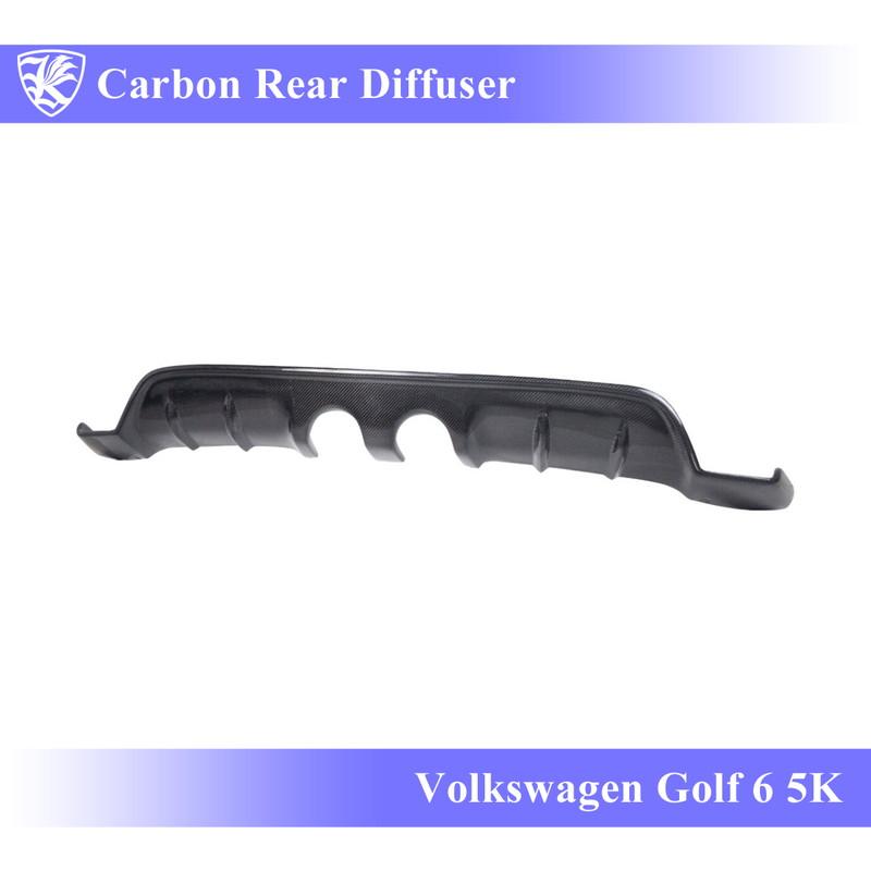 Volkswagen ゴルフ6 5K型 Kerberos K'sスタイル 3D Real Carbon センター2本出しマフラー用 カーボンリアディフューザー 【AK-15-053】