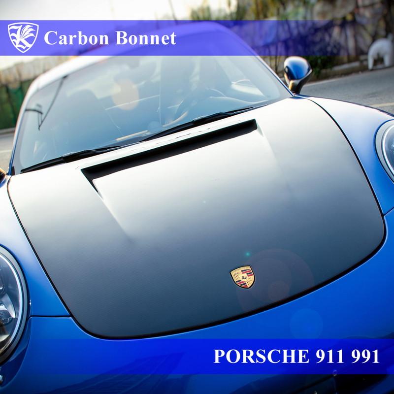 PORSCHE 911 991 前期 Kerberos K'sスタイル 3D Real Carbon カーボンエアスクープボンネット 【AK-18-071】