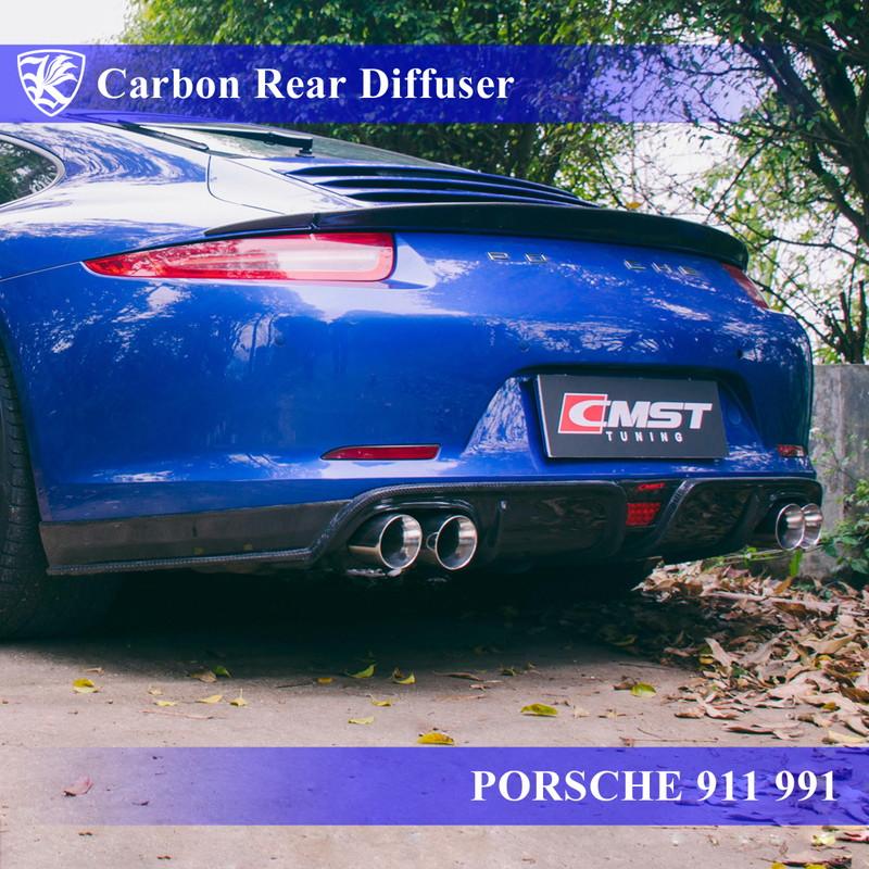 PORSCHE 911 991 前期 Kerberos K'sスタイル 3D Real Carbon カーボンリアディフューザー 【AK-18-074】
