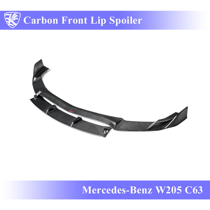 Mercedes-Benz W205 C63 AMG セダン 前期 Kerberos K'sスタイル 3D Real Carbon カーボンフロントリップスポイラー 【AK-2-183】