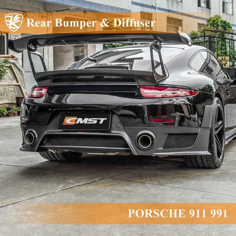 PORSCHE 911 991 Kerberos GT2 RSルック リアバンパー&ディフューザー&カナード 【AK-18-101】