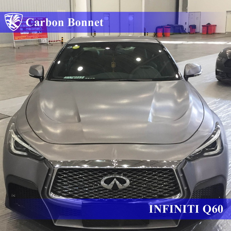 INFINITI Q60 クーペ Kerberos Project Black S conceptルック 3D Real Carbon カーボンボンネット 【AK-25-012】
