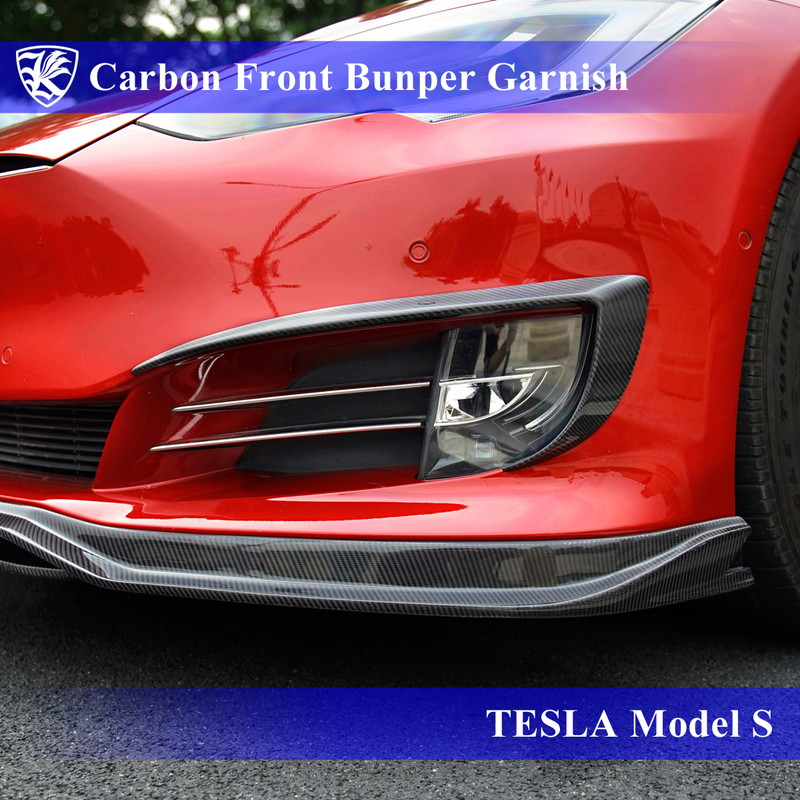 TESLA モデルS Kerberos K'sスタイル 3D Real Carbon カーボンフロントバンパーガーニッシュ 【AK-33-011】