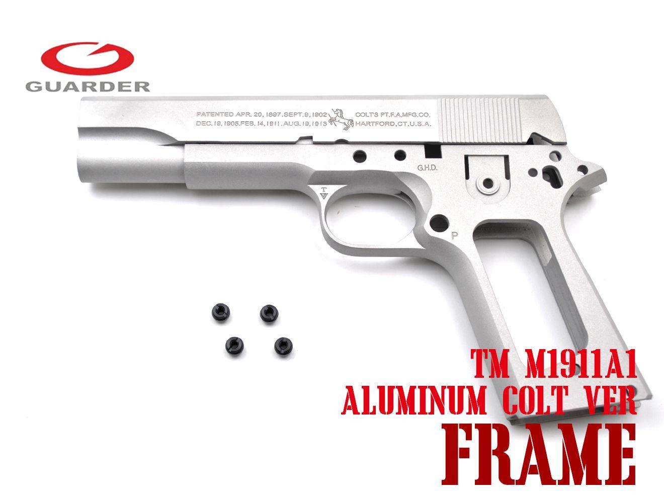 GUARDER Colt Ver アルミスライド&フレーム セット for TM M1911 SV★東京マルイ ガーダー ハンドガン GBB ガスブロ
