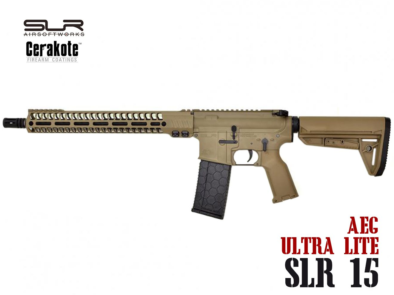 SLR AIRSOFT WORKS Helix Ultra Lite SLR15 電動ガンM-LOK Magpul DE Cerakote★ライフルワークス M4A1 ヘックスマグ FDE AEG