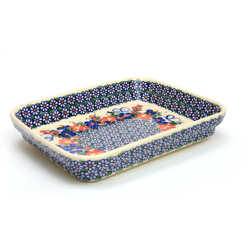 オーブン皿(グラタン皿)・スクエア・大[V149-A001]【ポーリッシュポタリー[ポーランド食器・陶器]】