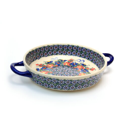 ラウンドキャセロール・小[V152-A001]【ポーリッシュポタリー[ポーランド食器・陶器]】