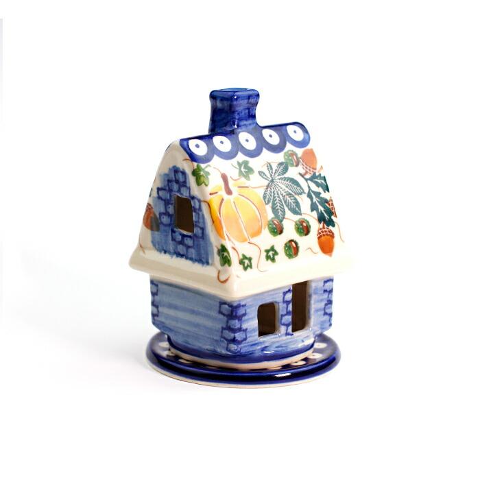 ◆在庫限り◆ 温かな炎の灯る森の中の小さな家 キャンドルホルダー K1057-DU441 ポーランド食器 贈与 陶器 ポーリッシュポタリー
