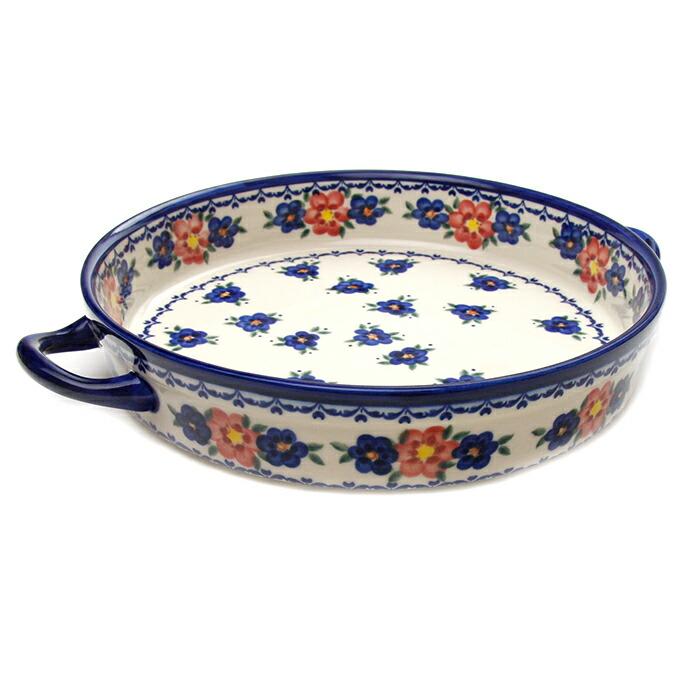 ラウンドキャセロール・大[V182-U072]【ポーリッシュポタリー[ポーランド食器・陶器]】