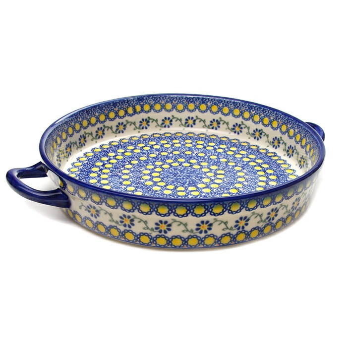 ラウンドキャセロール・大[V182-U113]【ポーリッシュポタリー[ポーランド食器・陶器]】