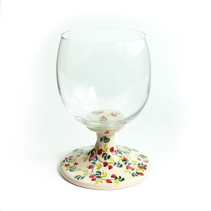中古 大きめのグラスがエレガント 脚付きグラス 小 V495-B307 ポーランド食器 いつでも送料無料 陶器 ポーリッシュポタリー