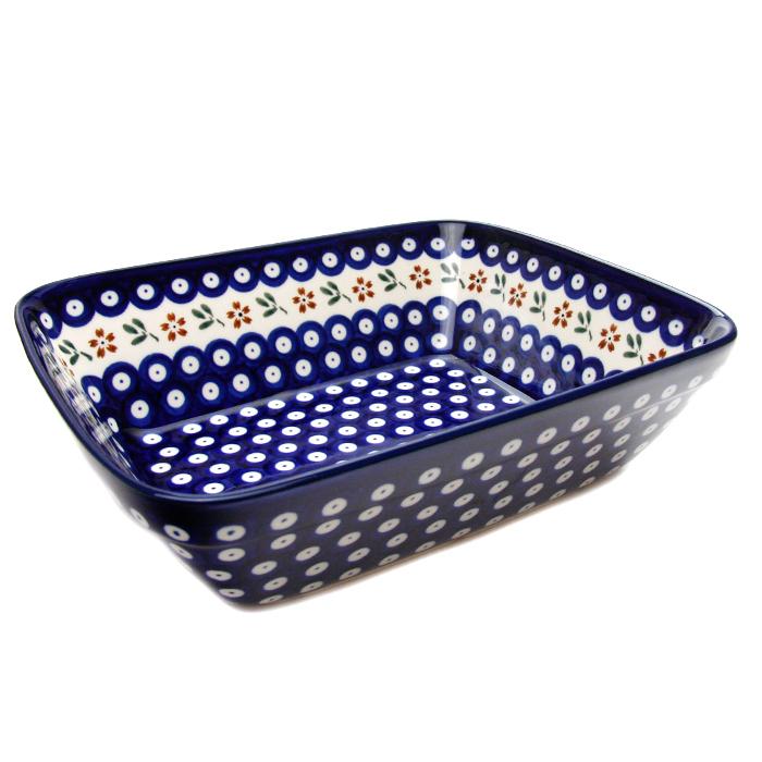 オーブン皿(グラタン皿)・大[Z1350-167A]【ポーリッシュポタリー[ポーランド食器・陶器]】