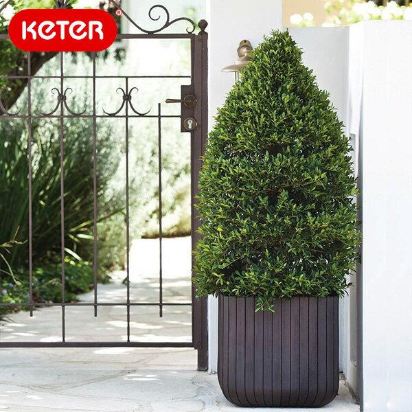 植木鉢 KETER Cube Planter M/木調キューブプランターMサイズ/あす楽対応 あす楽_土曜営業/RCP